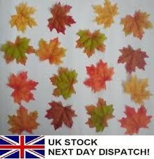 50 Fall Artificial Silk Leaves Wedding Autumn Maple Ivy Leaf Decorations Greener Ebay