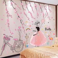 Shijuekongjian Cartoon Girl Wall Stickers Diy Peach Flowers Bicycle Mural Decals For Kids Rooms Baby Bedroom House Decoration Wall Stickers Aliexpress