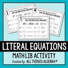 literal equations math lib literal