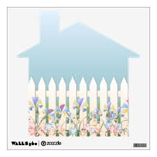 Garden Fence And Flowers Home Shape Wall Decal Zazzle Com
