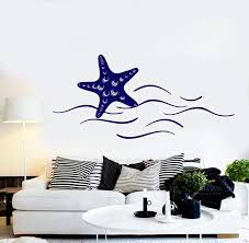 Vinyl Wall Decal Starfish Sea Ocean Beach Style Wave Stickers Unique G Wallstickers4you