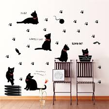 Black Cat With Bow Tie And Paw Wall Art Mural Decor Cartoon Cat Laptop Sticker Diy Home Decoration Decal Posters Decal Decor Removable Wall Art Decal For Wall From Magicforwall 1 24 Dhgate Com