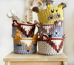 Animal Crocheted Storage Basket To The Kids Room Etsy