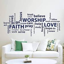 Amazon Com Wall Decals Worship Love Wall Decal Quote Word Collage Faith Quote Decal Wall Vinyl Sticker Nursery Decor Art Bible Verse Room Christian Wall Decormade In Usa Kitchen Dining