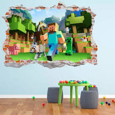 Minecraft 3d Smashed Wall Decal Broken Wall Sticker Wall Art In 2020 Break Wall Wall Decals Sticker Wall Art
