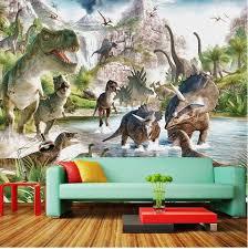 Dinosaur World 3d Wallpaper For Kids Room Children S Dino Theme Mural Beddingandbeyond Club