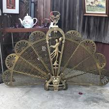 art deco brass peacock fireplace screen