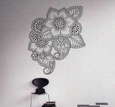 Abstract Flowers Mehndi Wall Vinyl Decal Henna Indian Ornament Etsy Vinyl Wall Decals Mural Wall Art Mandala Wall Art