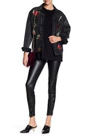 zip hem faux leather leggings