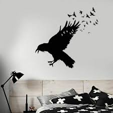 Raven Flock Of Birds Vinyl Wall Decal Black Walls Art Sticker Home Decor Animal Ebay