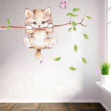 Cute Cat Butterfly Tree Branch Wall Stickers For Kids Rooms Home Decoration Cartoon Animal Wall Decals Posters Mural Art Petgazue For Pets