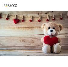 Laeacco ألعاب الأطفال دمية دب القلب المشبك لوحات خشبية الطرف صورة