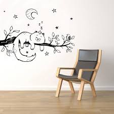 Sleeping Cat On Tree Branch Wall Decal Starry Sky Vinyl Sticker Wall Decor Removable Kids Room Interior Wallpaper Posters Ll609 Wall Stickers Aliexpress