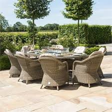 8 seater oval fire pit dining set