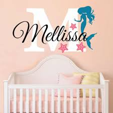 Nursery Mermaid Personalized Custom Name And Initial Wall Decal Sticker 34 W By 24 H Girl Name Wall Decal Girls Name Mermaids Wall Decor Girls Decor Girls Bedroom Plus Free Hello