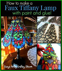 faux tiffany lamp with paint and glue