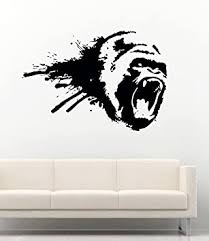 Amazon Com Gorilla Wall Decal Animals Wall Vinyl Decals Gorilla Monkey King Kong Decoration Gorilla Head Vinyl Decor Sticker Mural Size W 69 H 48 Baby