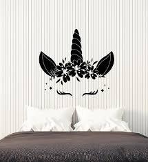 Vinyl Wall Decal Cartoon Cute Unicorn Horn Baby Room Decor Stickers 3 Wallstickers4you