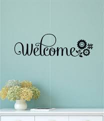 Welcome Flower Vinyl Decal Wall Stickers Letters Words Home Entryway Decor