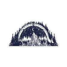 Treeline And Mountain With Compass Vinyl Decal For Car Etsy