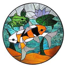 multicolored koi carp stained glass rs