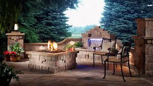 faux stone outdoor patio fireplace