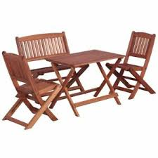 chairs and bench wooden folding dining