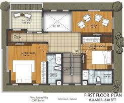 west facing plan 3 bhk duplex villas