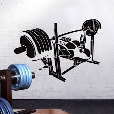 Barbell Bench Press Muscle Fitness Club Decal Gym Sticker Decor Posters Vinyl Decoracion Wall Decals Decor Mural Car Gym Sticker Wall Stickers Aliexpress
