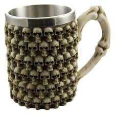 multi skulls ivory resin tankard