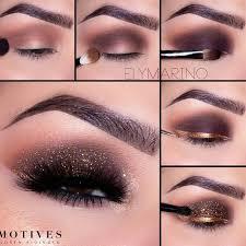 eyes makeup black smokey eyes with gold