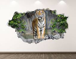 Tiger Wall Decal Jungle 3d Smashed Wall Art Sticker Kids Etsy