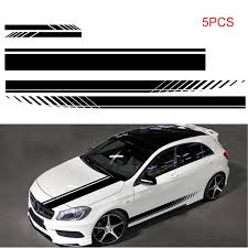 5 Pcs Universal Black Car Racing Body Side Stripe Skirt Roof Hood Decal Sticker For All Cars Pvc Decal Walmart Com Walmart Com