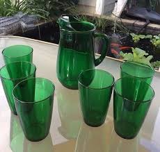 vintage emerald green pitcher and