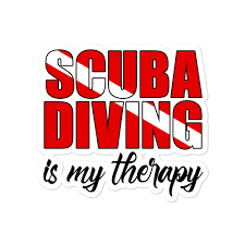 Cavis Scuba Diver Bubble Free Stickers Diving Is My Therapy Vinyl Decal Sea Surreal Store