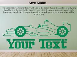 F1 Racing Car And Personalized Textname 52 Wall Vinyl Sticker Decal