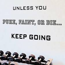Winston Porter Unless You Puke Faint Or Die Keep Going Quote Inspirational Fitness Wall Decal Reviews Wayfair