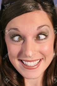 cross e funny face woman stock photo