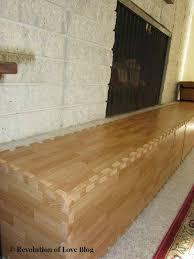brick fireplace with wood foam mats