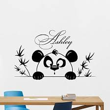 Personalized Name Panda Wall Decal Custom Girl Name Cartoon Poster Vinyl Sticker Kids Teen Boy Room Nursery Bedroom Wall Panda Things