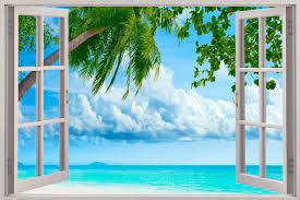 Exotic Island 3d Window View Decal Wall Sticker Home Decor Art Mural Palm Beach