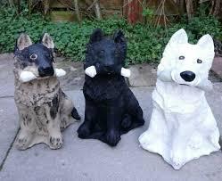 german shepherd dog stone garden