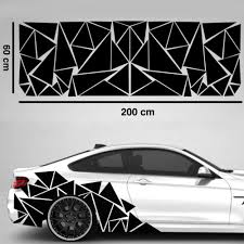 1pc 200x60cm Matte Black Triangles Camouflage Car Side Sticker Decal Decors For Car Decoration Car Stickers Aliexpress