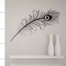 Animals Peacock Feathers Wall Stickers Black And White Vivid Wall Decals Home Decor Art Decal Poster Animals Living Room Decor Wall Stickers Aliexpress