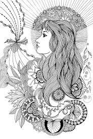 Flower Woman Doodle Kleurplaten Kleurplaten Voor Volwassenen En
