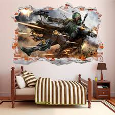 Boba Fett 3d Smashed Wall Decal Broken Wall Sticker Wall Art Dalvars On Artfire