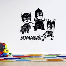 3d Cartoon Animation Pj Masks Wall Decal Vinyl Catboy Owlette And Gekko Home Adhesive Wall Art Decal 19 X 20 Kids Bedroom Nursery Removable Decoration Sticker Black Walmart Com Walmart Com