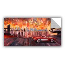 Shop Artappealz Marcus Martina Bleichner S New York City Two Bridges With A Corvette Removable Wall Art Mural Overstock 13547648