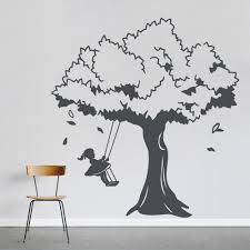 Little Girl And Tree Swing Wall Decal