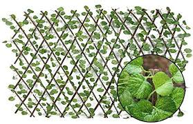 Amazon Com Mizzles Faux Ivy Artificial Leaf Expandable Stretchable Privacy Trellis Fence Screen For Outdoor Indoor Use Garden Fence Backyard Home Decor Greenery Walls Begonia Home Kitchen
